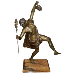 French Art Deco Bronze Sculpture on Marble Base by G. Obiols For Sale