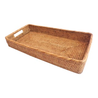 Vintage Rattan Wicker Narrow Honey Tray For Sale