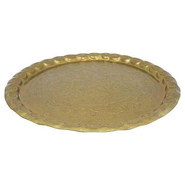 Boho Chic Mid-Century Moroccan Brass Tray For Sale - Image 3 of 5