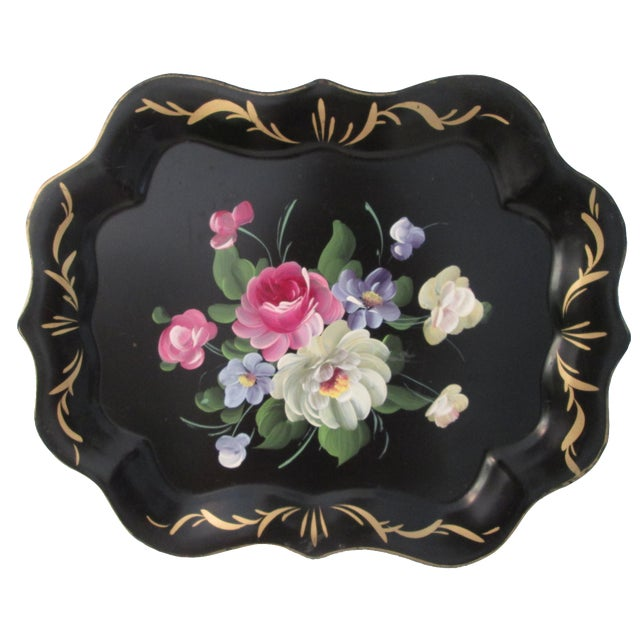 Vintage Large Tole Floral Tray - Image 1 of 7