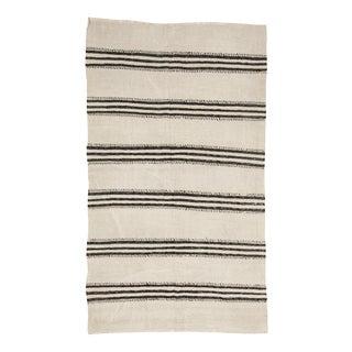 Mid 20th Century Vintage Black & White Striped Kilim Rug-4′3″ × 7′3″ For Sale