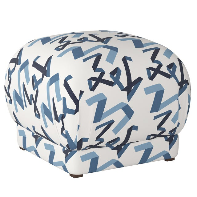 Not Yet Made - Made To Order Ottoman in Navy Ribbon by Angela Chrusciaki Blehm for Chairish For Sale - Image 5 of 5