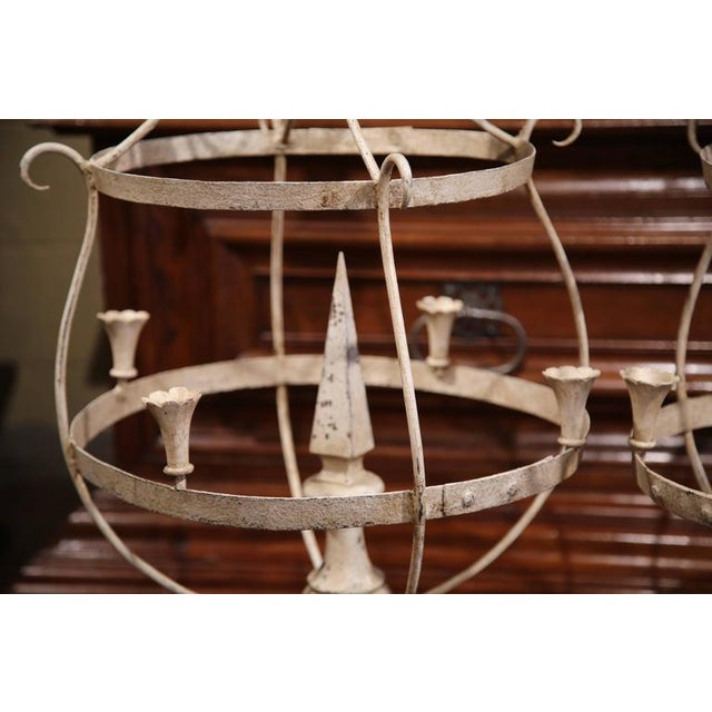 French Wood & Iron Painted Girandoles Candleholders - A Pair For Sale - Image 4 of 7