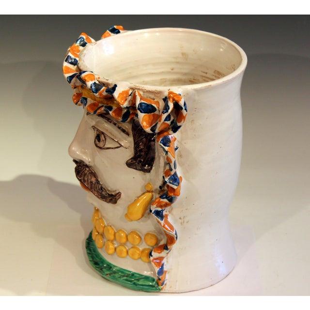 Italian Large Italian Sicilian Pottery Head Vase For Sale - Image 3 of 11