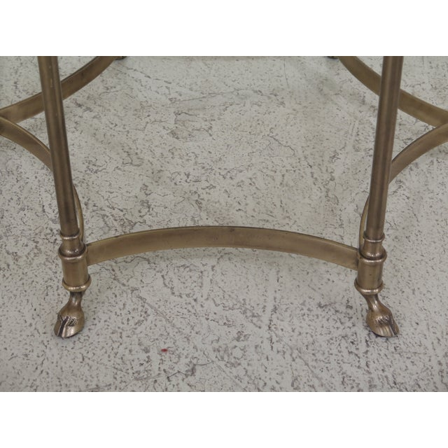 Labarge Brass & Glass Hoof Foot Occasional Table For Sale In Philadelphia - Image 6 of 7