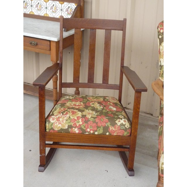 Wood Antique Brown Floral Tufted Armchair & Petite Oak Rocking Chair - A Pair For Sale - Image 7 of 9
