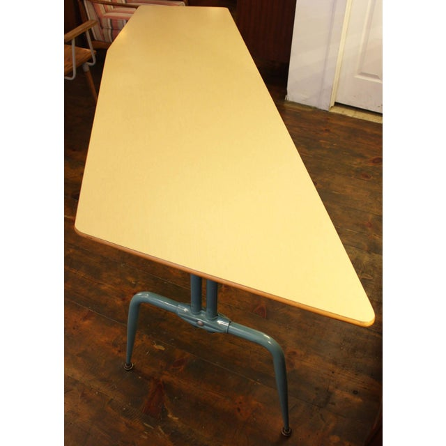 1950s French Laminated Plywood and Steel Adjustable Table - Image 3 of 10