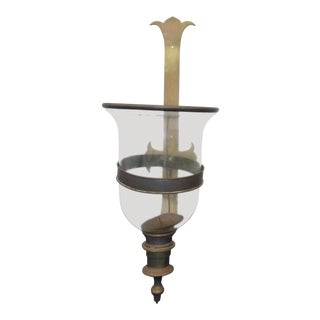 Vintage Brass & Glass Tall Candle Holder Brass Holder For Sale