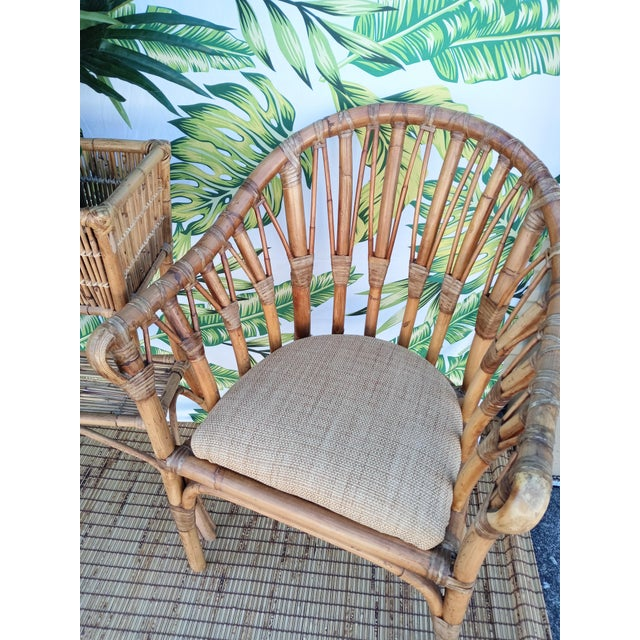 1980s Vintage Coastal Regency Bamboo Side Chairs Wheat Upholstered Seats -A Pair For Sale - Image 5 of 12