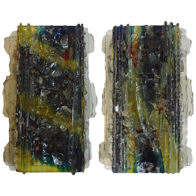 Multicolored Applied Glass Sconces - A Pair For Sale