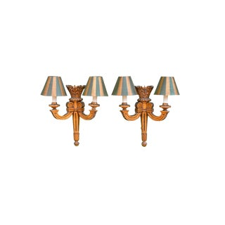 19th Century French Louis XVI Gilt Wood Sconces - A Pair For Sale