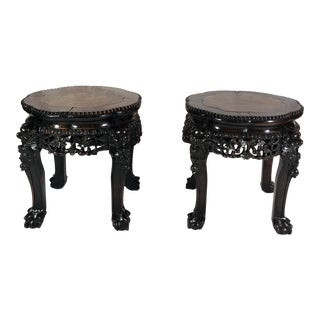 Pair Antique Carved Teak Stands With Marble Tops, Circa 1860-1870. For Sale
