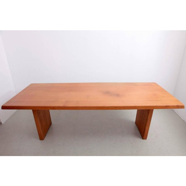 French Rare Large Pierre Chapo T14D Dining Table in Elmwood, France, 1970s For Sale - Image 3 of 6