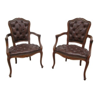 Louis XV Style Tufted Armchairs - a Pair For Sale
