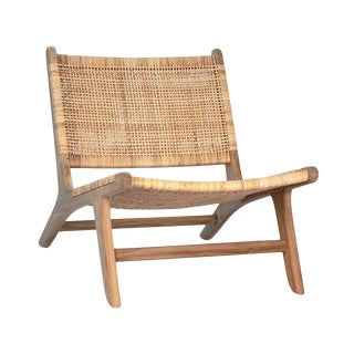 Natural Teak & Wicker Easy Chair For Sale