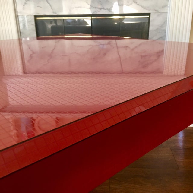 Karl Springer Postmodern Red Occasional Table With Graph Pattern For Sale - Image 4 of 9
