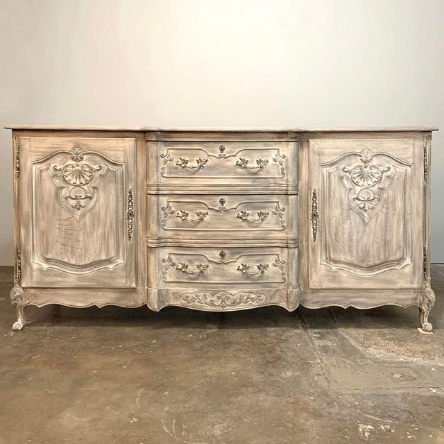 Antique French Louis XV Whitewashed Buffet For Sale - Image 10 of 13
