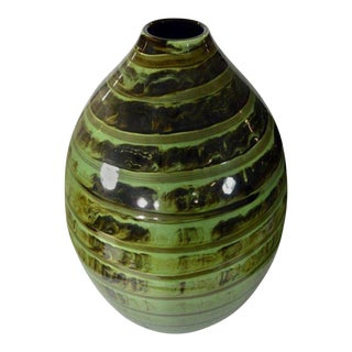 Artisan Large Incised Green Glaze Ceramic Vase from Thailand, 20th Century For Sale