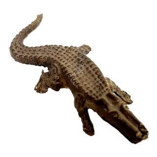 Antique Bronze Alligator Miniature Sculpture