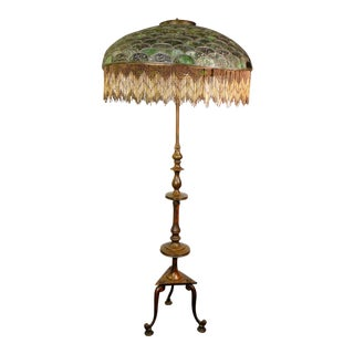 Duffner & Kimberly E.F. Caldwell Patinated Bronze Floor Lamp with Leaded Glass Shade For Sale