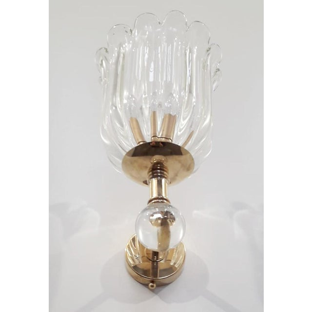 Two Pairs of Scalloped Sconces by Barovier E Toso For Sale In Palm Springs - Image 6 of 7