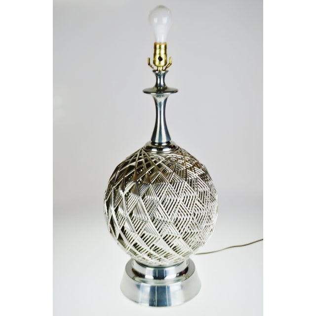 Vintage Brutalist Style Woven Metal Look Table Lamp For Sale - Image 11 of 13