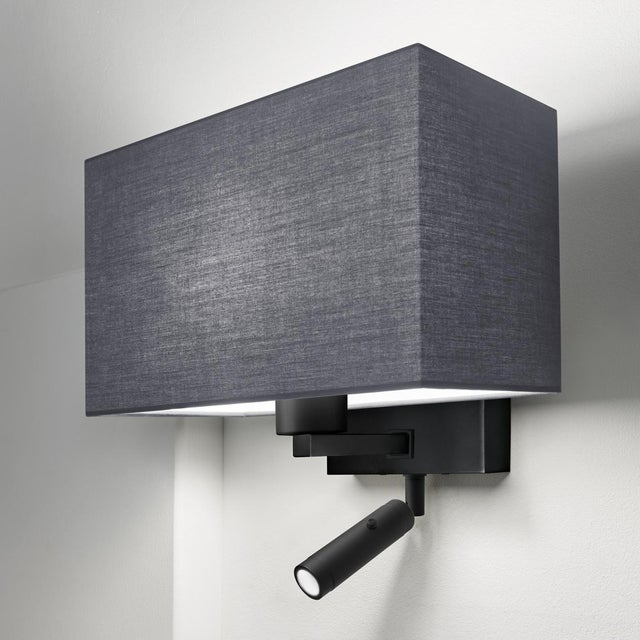 A satin black combination wall light with LED reading light with separate on/off button. Certification: IP20. Bulb: 1 x...