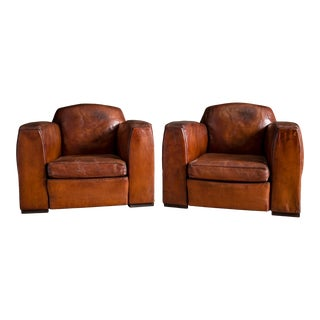 Pair of French Jean Moulin Leather Club Chairs C.1920 For Sale