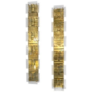 1980s Italian Modern Gold Brass Sconces With Aqua Tint Glass - a Pair For Sale