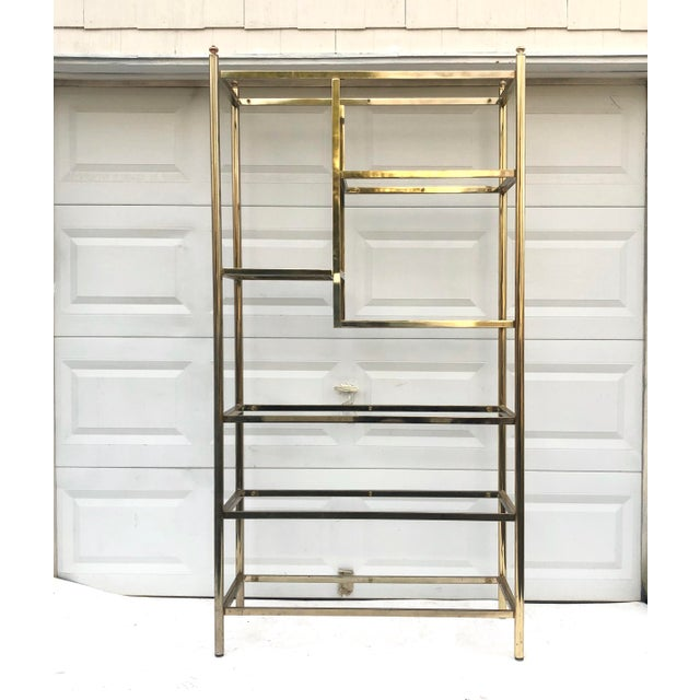 Vintage Brass & Glass Bookcase Etagere For Sale - Image 11 of 11