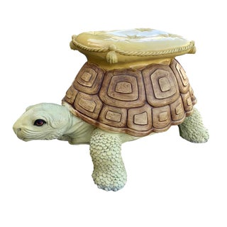 1960's Hollywood Regency Turtle Garden Stool For Sale