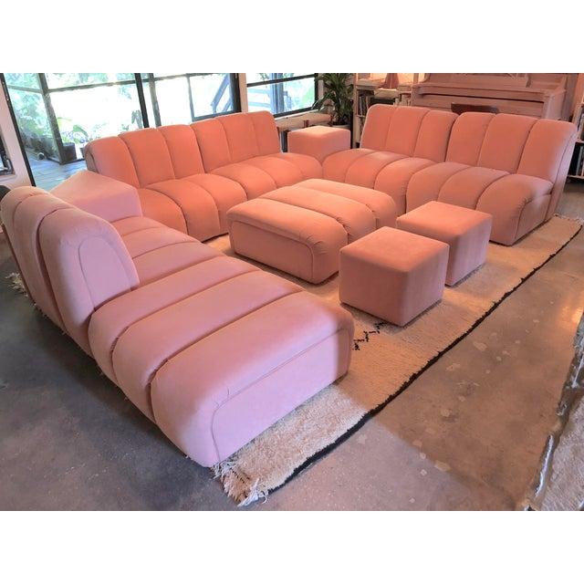 Vintage Glam Mid-Century Modular Tubular Brutalist Pink Sectional Sofa--11 Piece Set For Sale - Image 9 of 9