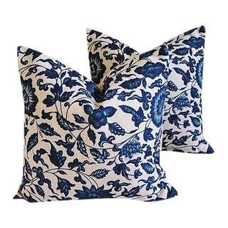 "Indigo Blue & White Down & Feather Pillows 20"" Square - a Pair For Sale"