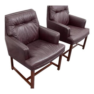 Pair of Edward Wormley Leather Armchairs
