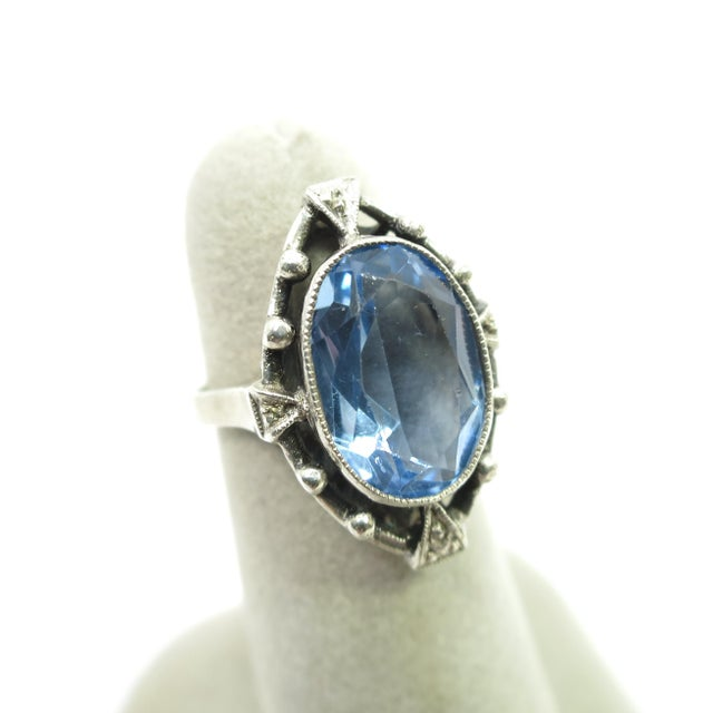 Edwardian 835 Silver & Blue Topaz Ring,1910 For Sale In Los Angeles - Image 6 of 12