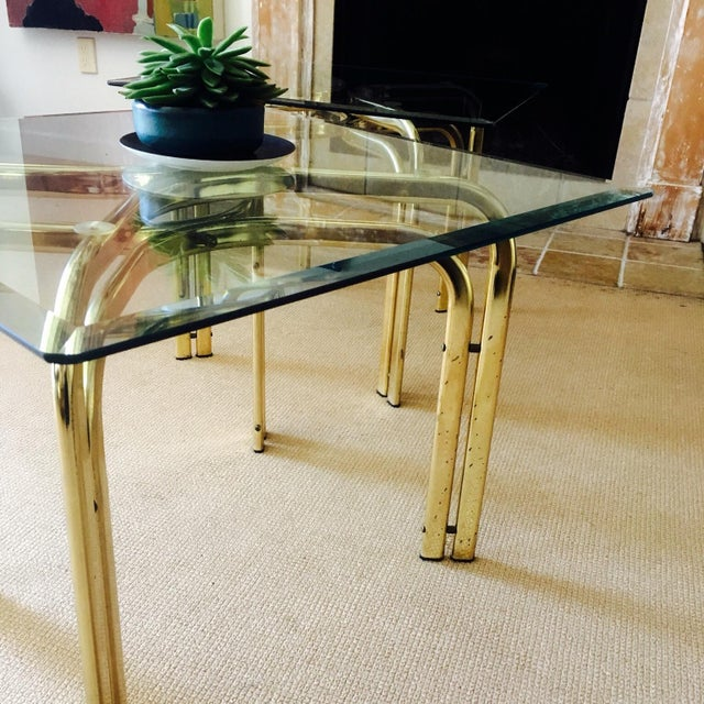 Mid Century Brass & Glass Side Tables - a Pair - Image 6 of 9