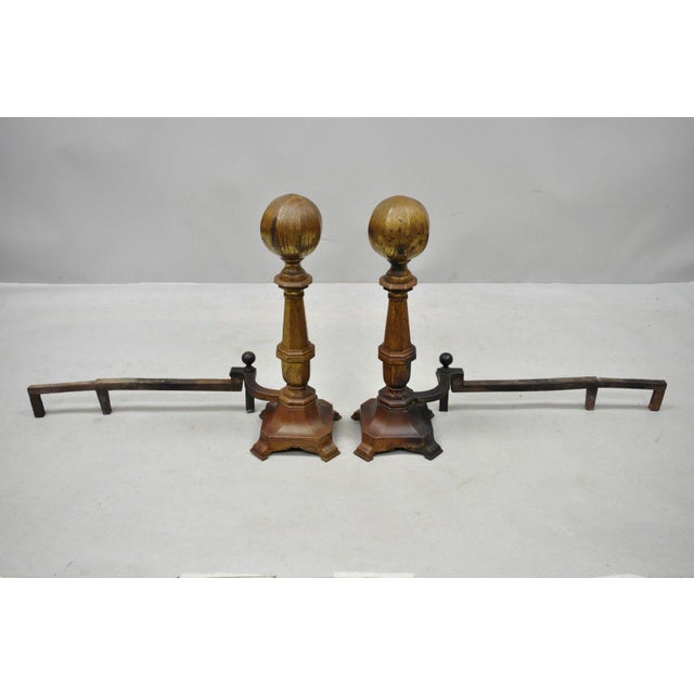 Federal 19th Century American Federal Brass Cannonball Andirons - a Pair For Sale - Image 3 of 9