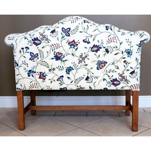 Vintage Camelback Chippendale Mahogany Floral Sofa For Sale - Image 4 of 9