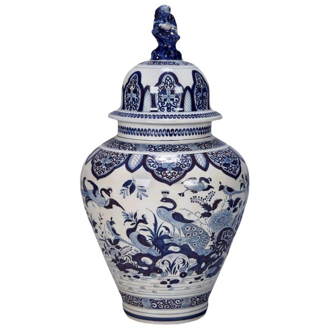 Blue and White Dutch Chinoiserie Vase or Ginger Jar with Foo Dog Lid For Sale