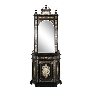 Late 19th Century Ebonized Mirrored and Inlaid Cabinet For Sale