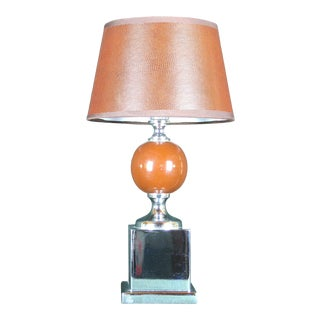 Mid 20th Century Wood and Chrome Table Lamp, Styled After Barbier, France For Sale