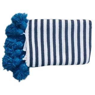 Blue & White Moroccan Throw With Tassels