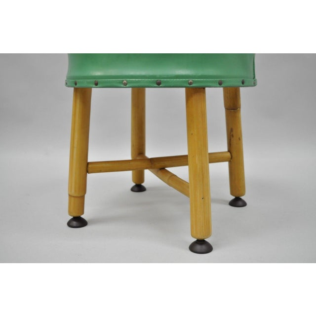 Boho Chic Vintage Green Vinyl Bamboo Wood Stool For Sale - Image 3 of 11
