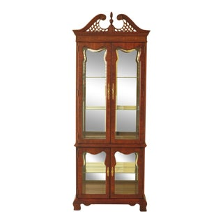 Thomasville Mahogany 4 Door Beveled Glass Curio Display Cabinet For Sale
