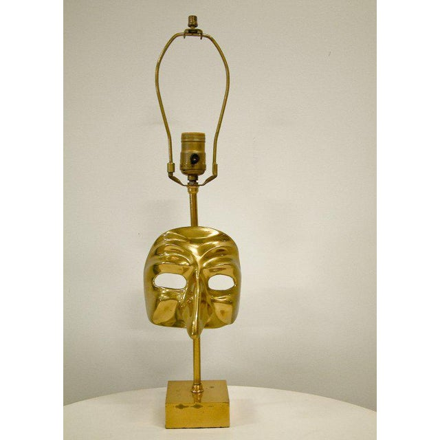 Commedia Dell'Arte Brass Mask Table Lamp For Sale - Image 4 of 9