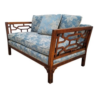 Palm Beach Hollywood Regency Fretwork Chippendale Settee For Sale