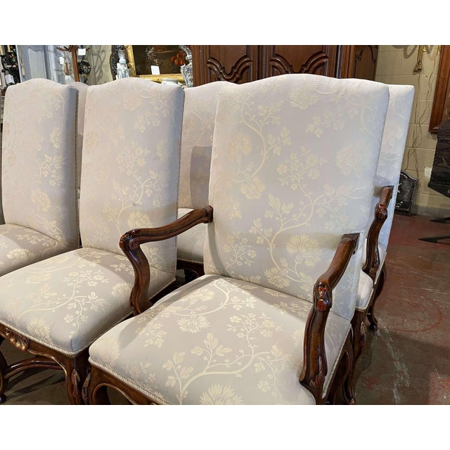 Set of Eight Louis XV Style Carved Walnut Dining Chairs From Minton-Spidell For Sale - Image 4 of 13