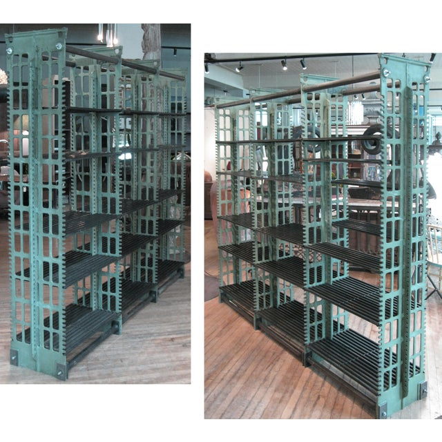 Pair of Antique Cast Iron Archival Library Bookcases by Snead For Sale - Image 10 of 10