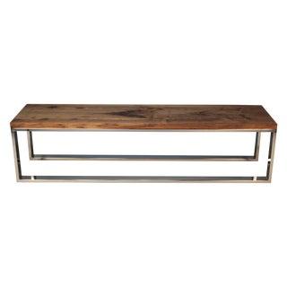 Modern Chrome and Walnut Milo Baughman Bench For Sale