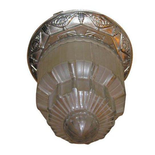 Silver French Art Deco Ceiling Lantern For Sale - Image 8 of 8